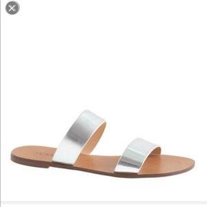 J crew Malta silver sandals Italy size 7